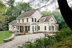 Family Farmhouse crisp architect, exterior, driveway, interior design styles, dream hous, stone walls, country farmhouse, porch, farm houses