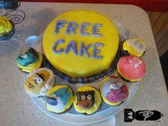 the regular show birthday cake and cupcakes. FREE CAKE @Melissa Mendoza