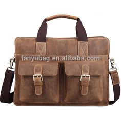 High quality and classic design Crazy Horse leather men leather briefcase with secret compartment