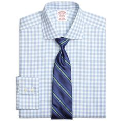 Brooks Brothers Non-Iron Madison Fit Hairline Framed Check Dress Shirt ($90) ❤ liked on Polyvore featuring mens, men's clothing, men's shirts, men's dress shirts and blue