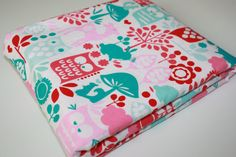 Minky Baby Blanket  Forest Life in Watermelon by modernmadebaby, $35.95