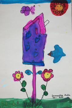 Birdhouses. Black marker, concentrated liquid watercolor, 3-D model magic bird. 1st & 2nd grades.