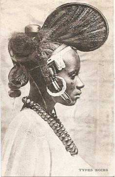 Fulani/Peul woman, circa 1900, Guinea/Mali. Vintage postcard.