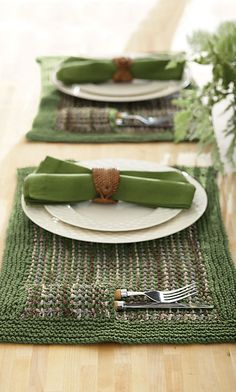 Knitted placemats. It has a little pocket for your utensils.