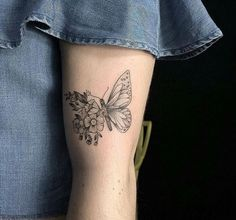 Butterfly on Flowers Tattoo Design 2018-2019 for Women