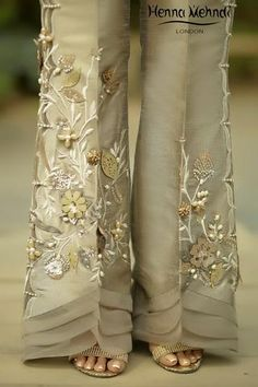 Beige 3D Embroidered & Embellished Trousers