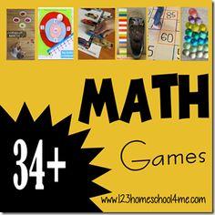34 Math Games for Preschool and Homeschool TGIF Math Games For Kids, Preschool Games, Math Activities, Preschool Learning, Kindergarten Math, Teaching Math, Maths, Teaching Ideas, Printable Math Games