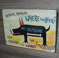 WILD HOG Hambone. Where have you been.. Restaurant Sign..Primitive Outsider folk art by WILLARDJ...L7 via Etsy