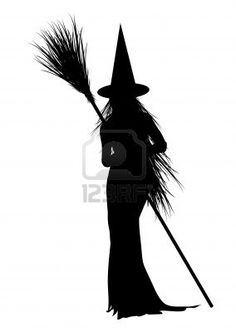 silhouette of Halloween witch on white background