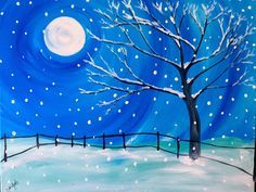 paintings of winter snow Painting Snow, Easy Canvas Painting, Winter Painting, Easy Paintings, Diy Painting, Painting & Drawing, Watercolor Paintings, Canvas Art, Christmas Paintings On Canvas