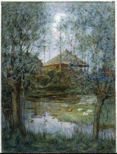 Piet Mondriaan  Hooischelf  1897-1898  hoogte 64,0 cm breedte 47,0 cm  waterverf en dekwit op papier