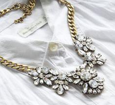 Jcrew Style Fashion Jewelry Resin Stone Antique Bib Statement Wedding Necklace #StatementChainsNecklace