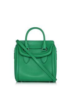 Alexander McQueen - Small Heroine green leather grab bag