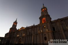 PERU, South America, Arequipa, Arequipa Basilica Cathedral,  By: John Miles,  Collection: The Image Bank