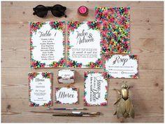 Bright flower wedding invites for your Spring affair