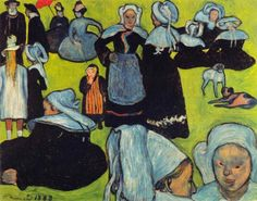 Huile sur toile, 93 x 74 cm, 1888, Collection Josefourtz, Lausanne.  Ce tableau a été apporté par P Gauguin à Arles et a servi de motif à une aquarelle de V van Gogh pendant le séjour qu'ils y ont effectué ensemble (le terme de synthétisme était notamment utilisé par les post-impressionnistes, notamment P Gauguin et E Bernard, pour les distinguer de l'impressionnisme)   Pour voir la copie (aquarelle) de V van Gogh : www.flickr.com/photos/7208148@N02/16619281181/