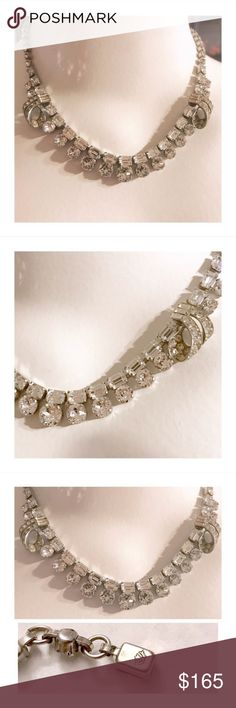 """Rare Vintage Schoffel & CO Rhinestone Necklace Vintage Schoffel & CO Rhinestone Necklace    Schoffel & Co was an Austrian Company known for using the most gorgeous & best quality crystals. They were in business from the 1930's-1960's  This piece is stunning & I cannot for the life of me photograph its beauty & sparkle. Signed w/crown.   Total length = 16"""" Vintage Jewelry Necklaces"""