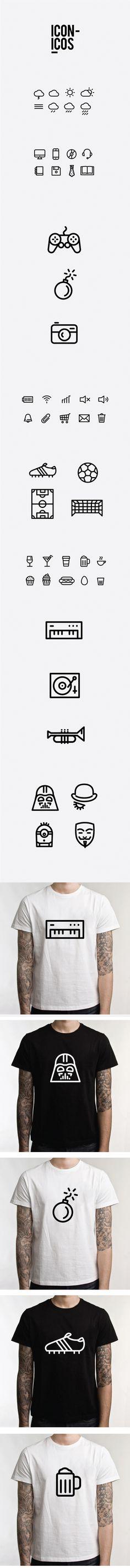 ICONICOS, disseny de pictogrames versàtils per a utilitzar en apps, samarretes, cartells i altres suports gràfics. D'Adrián Heras.
