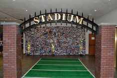 Brick Stadium Entry With Crowd Scene Backdrop