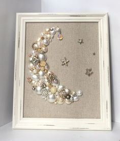 Vintage jewelry art // pearl moon stars shabby chic by BumbleandRo