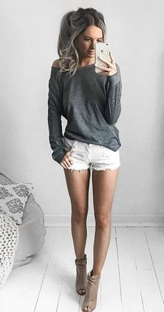 nude heels + white distressed shorts + oversized top