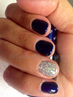 Russian Navy w Loose Glitter -- gel manicure - OPI - round nails - nail art - fall nail ideas Stiletto Nails, Gel Nails, Nail Polish, Loose Glitter, Glitter Gel, Short Rounded Acrylic Nails, Round Nail Designs, Round Nails, Nagel Gel