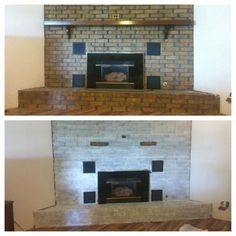 How To Easily Whitewash A Fireplace #whitewash #diyproject Cozy Living Spaces, Tile Removal, White Wash, Diy Remodel, Remodeling Projects, White Wash Brick, Distressed Floors, Bachelorette Pad, Home Renovation