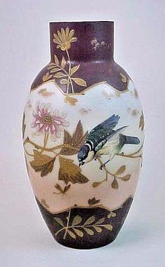 LG Signed Antique Victorian Bohemian Harrach Peony & Bird Enamel Art Glass Vase #Victorian #Harrach