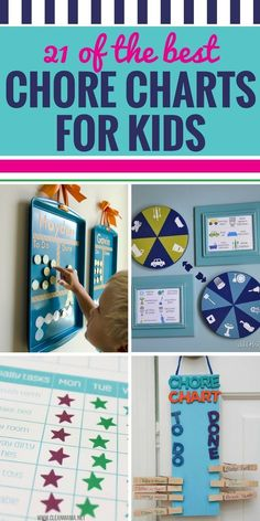 Whether you have multiple kids, young kids or older kids, you're going to love these 21 DIY chore chart ideas. Get your kids excited about doing chores and help keep them on track with their responsibilities with these chore charts and printables. #chores #chorechart #kids #parenting #printables