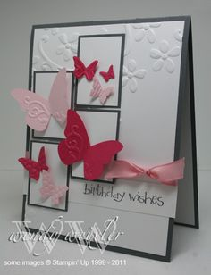 Stamps: So Happy for You  Paper: Basic Gray, Whisper White, Melon Mambo, Pink Pirouette  Ink: Basic Gray  Accessories: Elegant Bouquet Textured Impressions Folder, Beautiful Wings Embosslits Die, Pretty in Pink Taffeta Ribbon