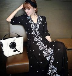 Spring Summer Ethnic Embroidery Black Dress