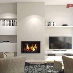 Pellet Fireplace, Home Fireplace, Modern Fireplace, Fireplace Design, Living Pequeños, Living Room Tv, Home And Living, Alcove Shelving, Living Room Decor Fireplace