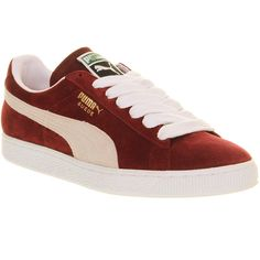 Puma Suede Classic (€45) ❤ liked on Polyvore featuring shoes, sneakers, trainers, puma, seude, team burgundy white, unisex sports, white sneakers, sport sneakers and white suede shoes