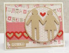 Journal It - For the Record, Document It - Off the Chart, Boy Meets Girl Die-namics, Layered Heart Border Die-namics - Karen Giron Valentine Day Cards, Valentines, Boy Meets Girl, Mft Stamps, All Paper, Heart Cards, Card Sketches, Love, Cool Cards