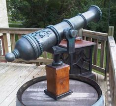 Now that you have a full size cannon, let's build a smaller rail mounted cannon. With Halloween around the corner, you can never have too many pirate props. Pirate Halloween Decorations, Pirate Decor, Pirate Theme, Pirate Party, Pirate Bathroom, Backyard Fort, Pirate Life, Metal Artwork, Treasure Island