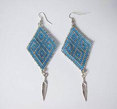 Modern earrings / Beaded earrings / silver and blue earrings /