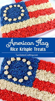 American Flag Rice Krispie Treat ~ A patriotic dessert that is both delicious and easy to make. It would be a great of July dessert, a Memorial Day BBQ treat or even an Olympics viewing party snack. Patriotic Desserts, Blue Desserts, 4th Of July Desserts, Fourth Of July Food, 4th Of July Party, July 4th, Patriotic Party, Holiday Desserts, Holiday Foods