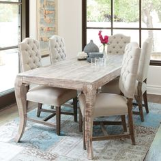 Elodie Distressed Dining Table in White Wash | Dining room ...