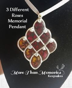 3 different Rose Petal Memorial Pendant http://abanister1.wixsite.com/morethanmemories