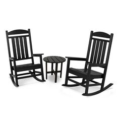Polywood® 3-piece Presidential Outdoor Rocking Chair & Round Side Table Set, Black