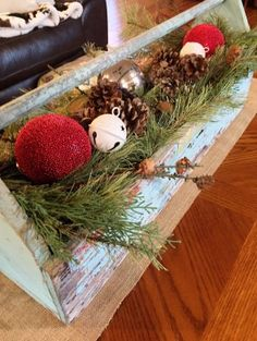 Another wonderful use for an old wooden toolbox! Check this out on our Super Simple Holiday House Tour! Winter Wonderland Christmas, 25 Days Of Christmas, Christmas On A Budget, Christmas Home, White Christmas, Holiday Fun, Christmas Wreaths, Christmas Ideas, Christmas Centerpieces