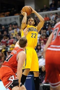 New Pacer Chris Copeland shoots over the Bulls Erik Murphy in the preseason at Bankers Life Fieldhouse.