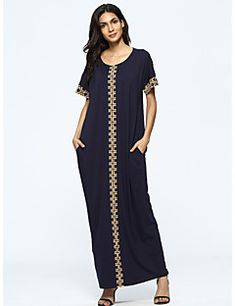Print Loose Split Short Sleeve O-neck Maxi Dress For Women is high-quality, see other cheap summer dresses on NewChic. Maxi Kaftan, Mode Abaya, Cheap Summer Dresses, Maxi Styles, Latest Dress, Dresses Online, Short Sleeve Dresses, Maxi Dresses, Hijab Dress