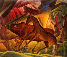 """The title word """"composition"""" from Munn's painting """"Composition (Horses),"""" (c. Art Gallery of Alberta) attests to her affinity with the ideas of art and spirituality of Wassily Kandinsky, discussed in his key text """"Concerning the Spiritual in Art. Art Gallery Of Alberta, Modern Art, Contemporary Art, Cow Painting, Wassily Kandinsky, Canadian Artists, Installation Art, Art Blog, Online Art"""