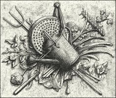 I have so much outside work to do but decided to make a garden-motif etching instead. I love it and hope you do too. Old Garden Tools, Garden Art, Bee Skep, Interior Rendering, Water Garden, Outdoor Rooms, Water Features, Decoration, Silver Color