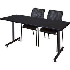 Kobe 66 inch x 24 inch Training Table in Multiple Colors and 2 Mario Stack Chairs, Black, Brown