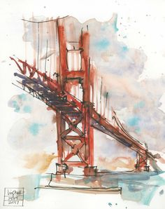 Liz Steel sketch from Daniel Smith article. Watercolor Landscape, Watercolor Paintings, Golden Gate Bridge Painting, Art Sketches, Art Drawings, Watercolor Sketchbook, Art Journal Techniques, Architecture Tattoo, Urban Sketching