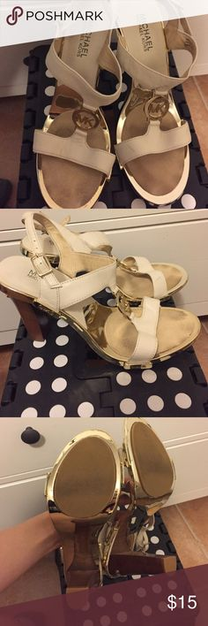 MICHAEL Michael Kors gold and white strappy heels MICHAEL Michael Kors gold and white heels size 8.5 MICHAEL Michael Kors Shoes Heels