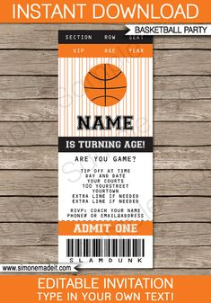 Type your own text into this HUGE Basketball Birthday Party Decorations & Invitation package.  INSTANTLY DOWNLOAD this digital PDF file that you personalize at home. Edit and print each page as many times as you like.  You edit ALL of the text in this pack by yourself at home - just open the file in Adobe Reader and type over my sample text.  ------------------------------------------ WHAT YOU WILL RECEIVE ------------------------------------------ You will receive ALL of the following di...
