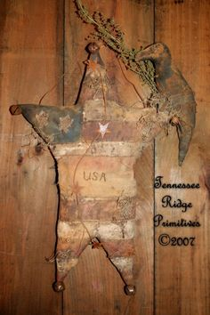 Primitive Americana Flag Star With Crow Door Hanger E-pattern